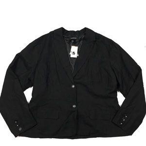 Ashley Stewart Black Linen Flap Pocket Blazer NWT